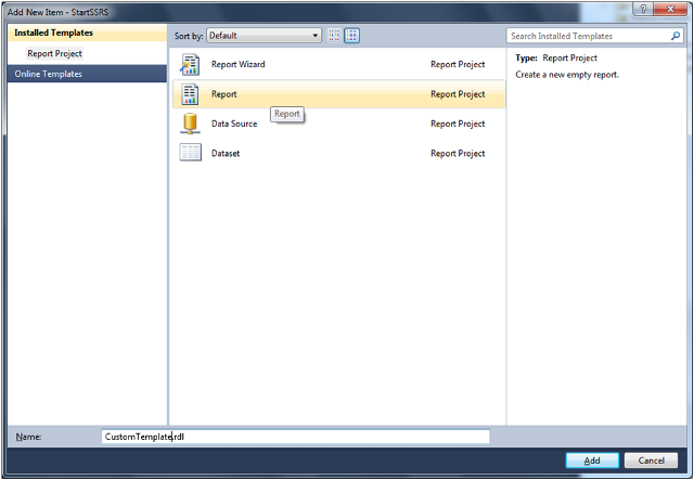 Custom Report Template in SSRS-2