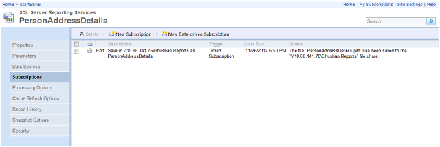 9-Report Subscription(Windows File Share Delivery) in SSRS