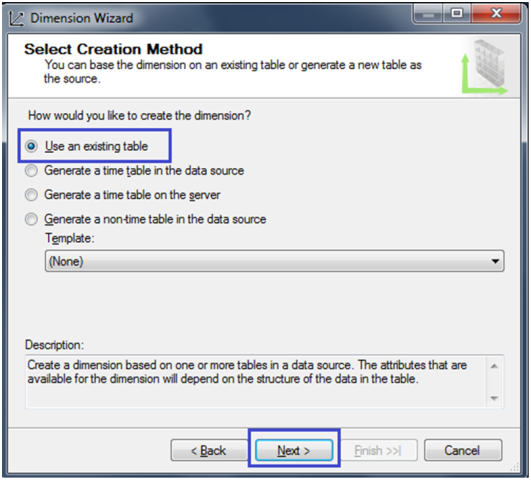 4-Create a Dimension in SSAS