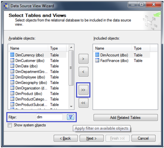 7-Create a Data Source View in SSAS