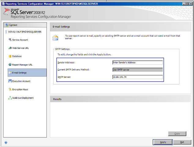 11-Email Configuration in SSRS with SMTP in Windows Server 2008R2