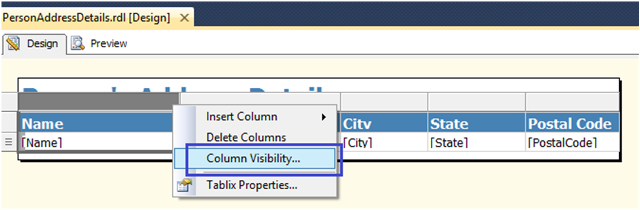5-Conditionally Setting Column Visibility in SSRS